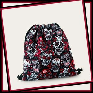 Skull Pattern Drawstring Backpack Black & Red